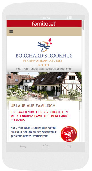 Mobile Webseite des Hotel Rookhus
